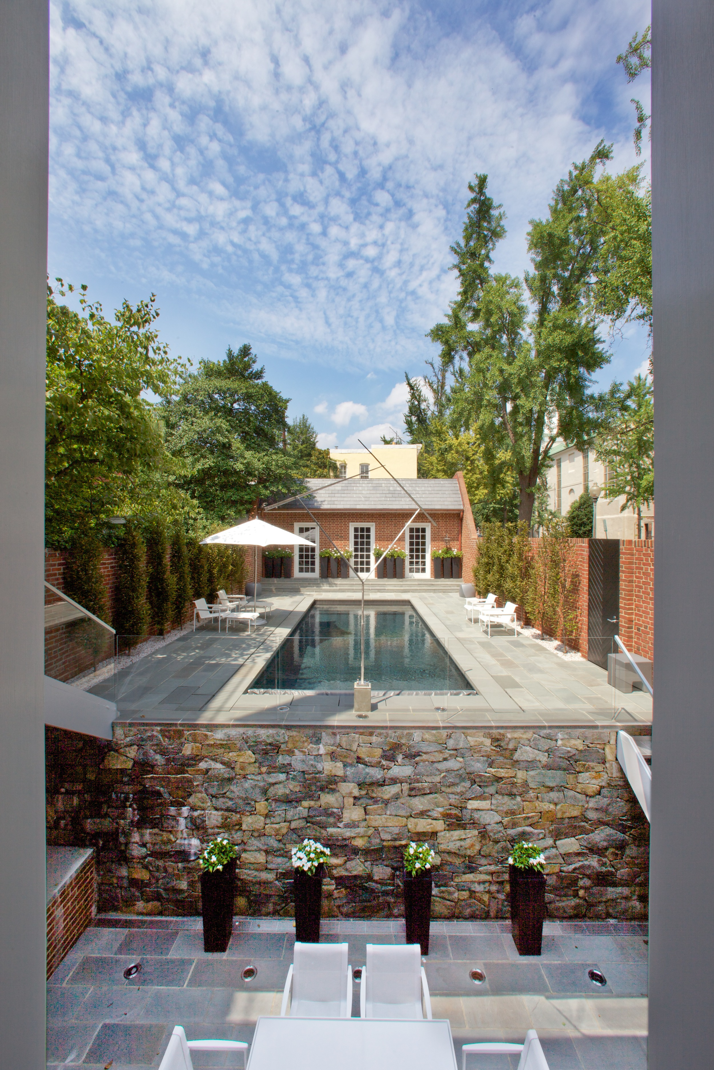The garden and black bottom swimming pool.