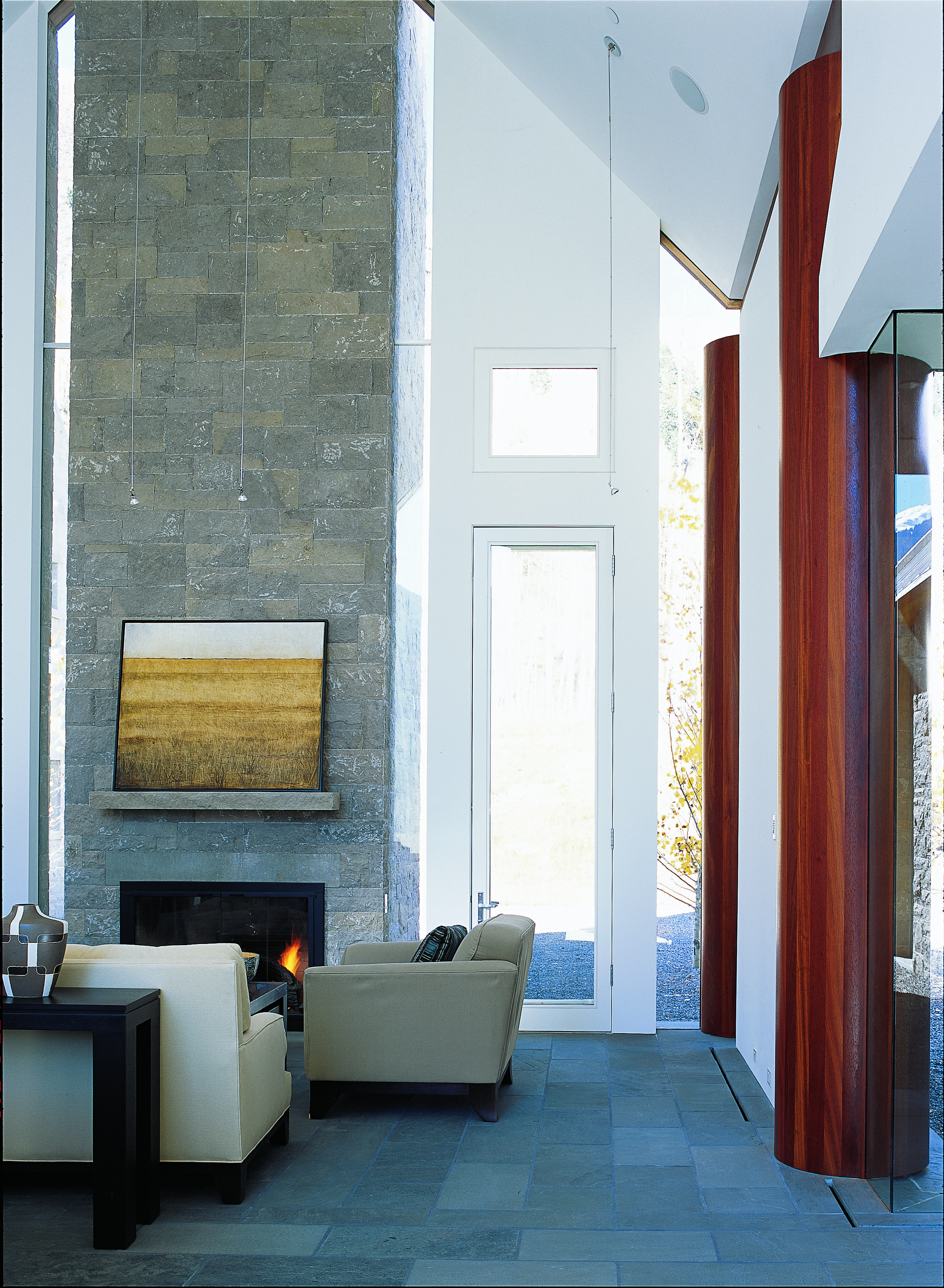 Volumetric pavilion ceilings and local stone in Aspen, Co.