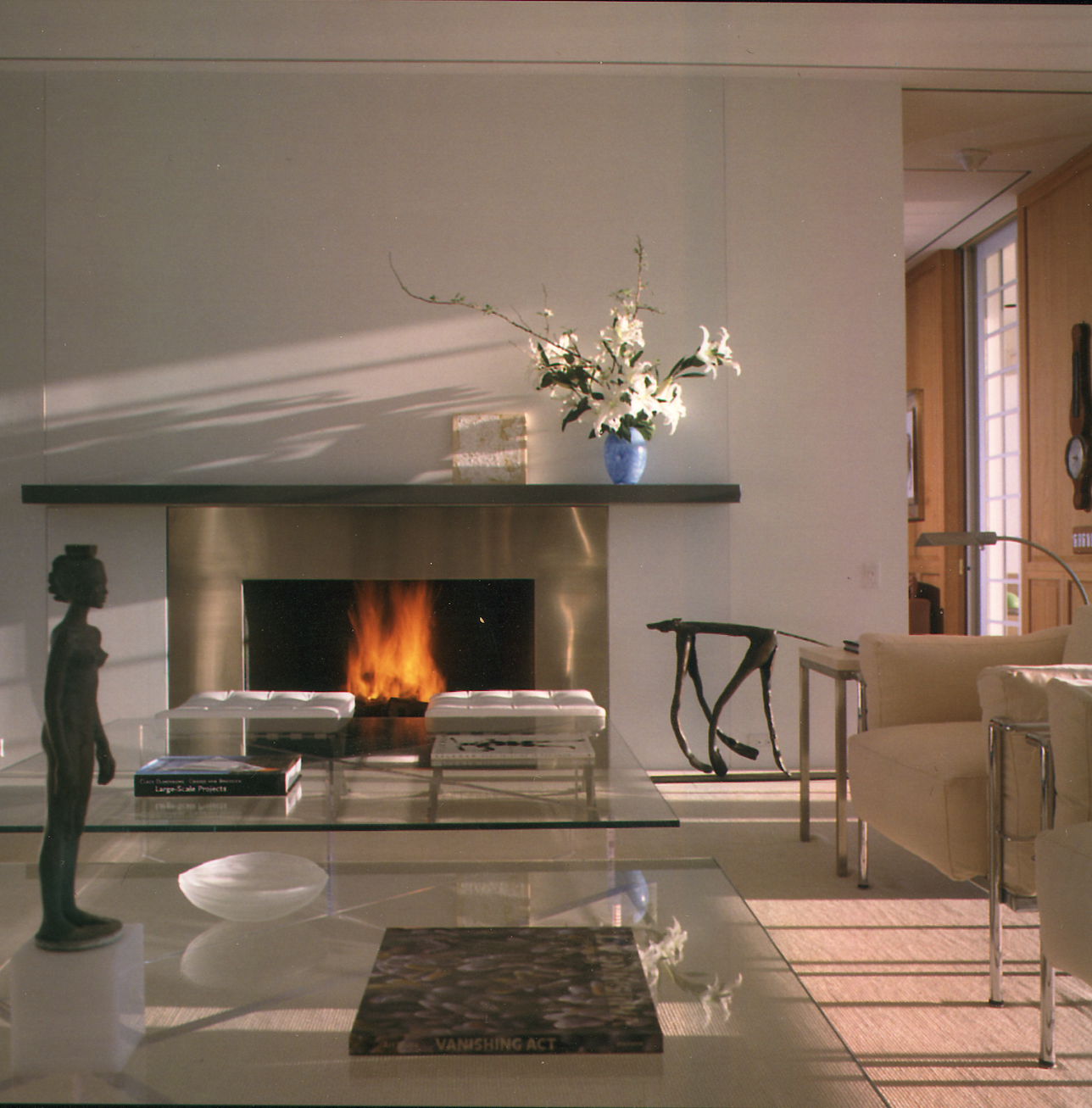 A Stainless steel fireplace surround in Windsor, Florida.