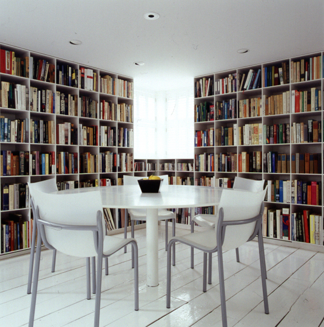 A converted barn and JA bookcases in Nantucket.