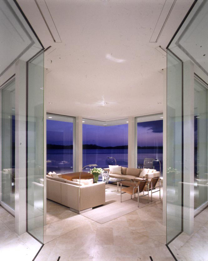 Glass pavilion over the water on Hobe Sound.