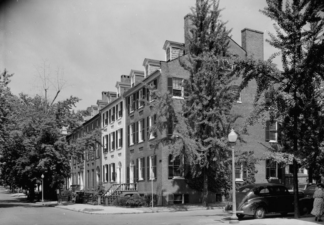 "Smith Row, Georgetown.  Year 1810  N Street and Potomac Avenue NW  Washington, DC  One of the most handsome rows of Federal style townhouses in Georgetown. Built by Clement and Walter Smith in 1810, the house was owned by the author Herman Wouk (""The Caine Mutiny,"" ""The Winds of War,"" ""War and Remembrance"" et al) before it was purchased by Dr. Tina Alster and Ambassador Paul Frazer in 2009. The Jacobsens were tasked with stabilizing and enhancing the structure's historic features, repairing the waving brick, window and door restoration and a complete renovation of the interior without disturbing the Federal era ""two pile plan.""  Project Architect: Richard Cho  General Contractor: Glass Construction.  Architectural Photography: Robert C. Lautman, HABS, Simon Jacobsen.  Published: Architectural Digest  Winner:  2011 Award of Excellence in Interior Architecture, The American Institute of Architects-Washington Chapter  2012  Award of Excellence by Home & Design Magazine"