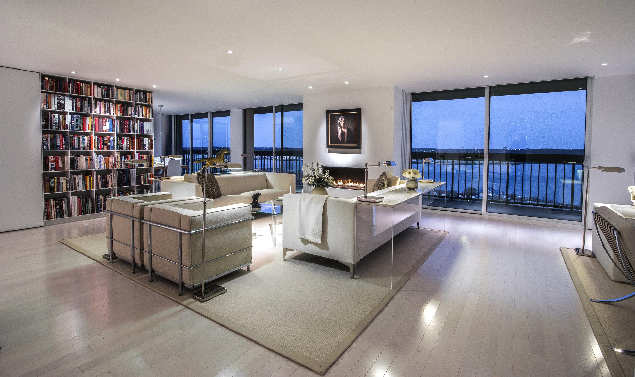 Sweeping views and custom Jacobsen furniture overlook the Potomac River in Alexandria, Virginia.