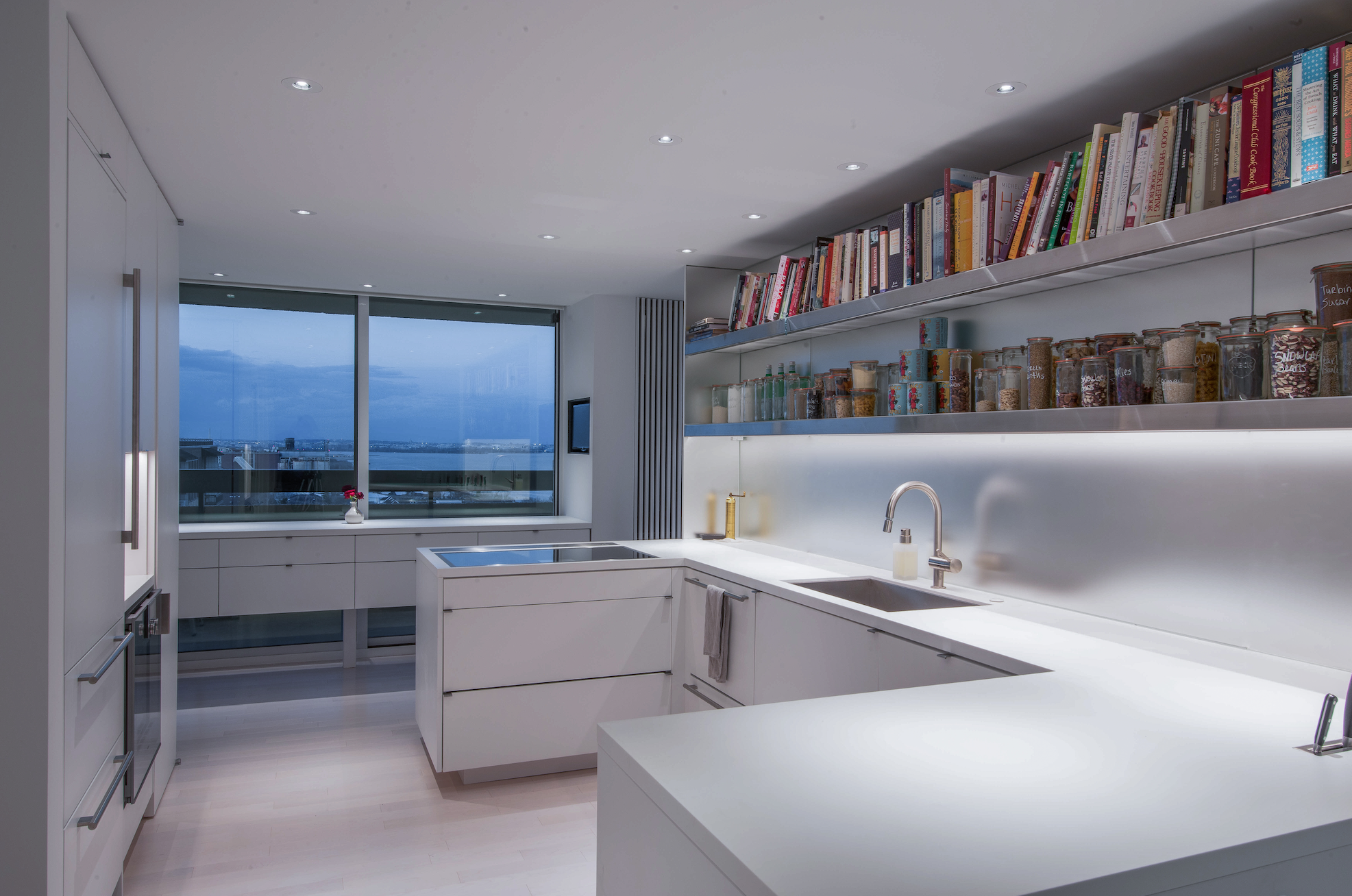 Corian counters and drawer faces make this a one of a kind kitchen.