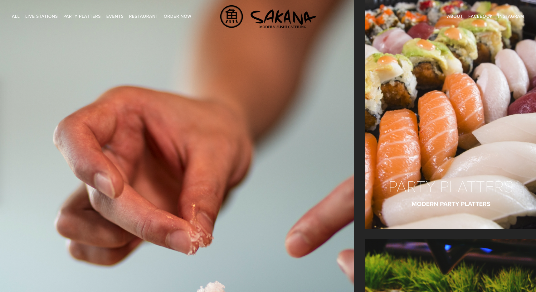 Developed for Sakana Modern Sushi in Bedminster, NJ to use as a marketing and ordering platform for the catering side of their business.
