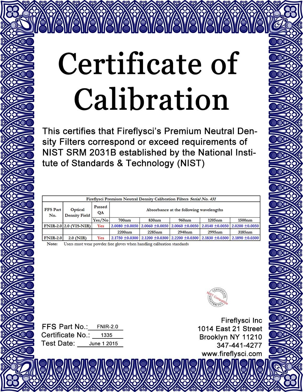 Sample FNIR-2.0 Certificate of Calibration