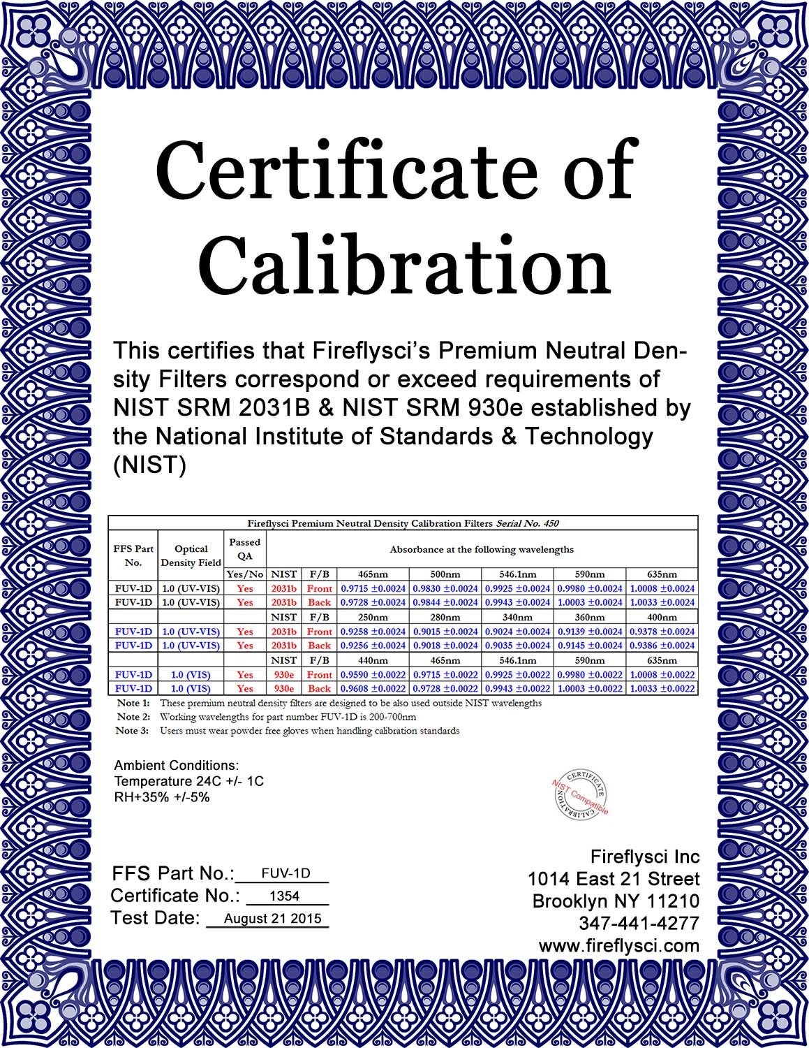 Sample FUV-1.0D Certificate of Calibration