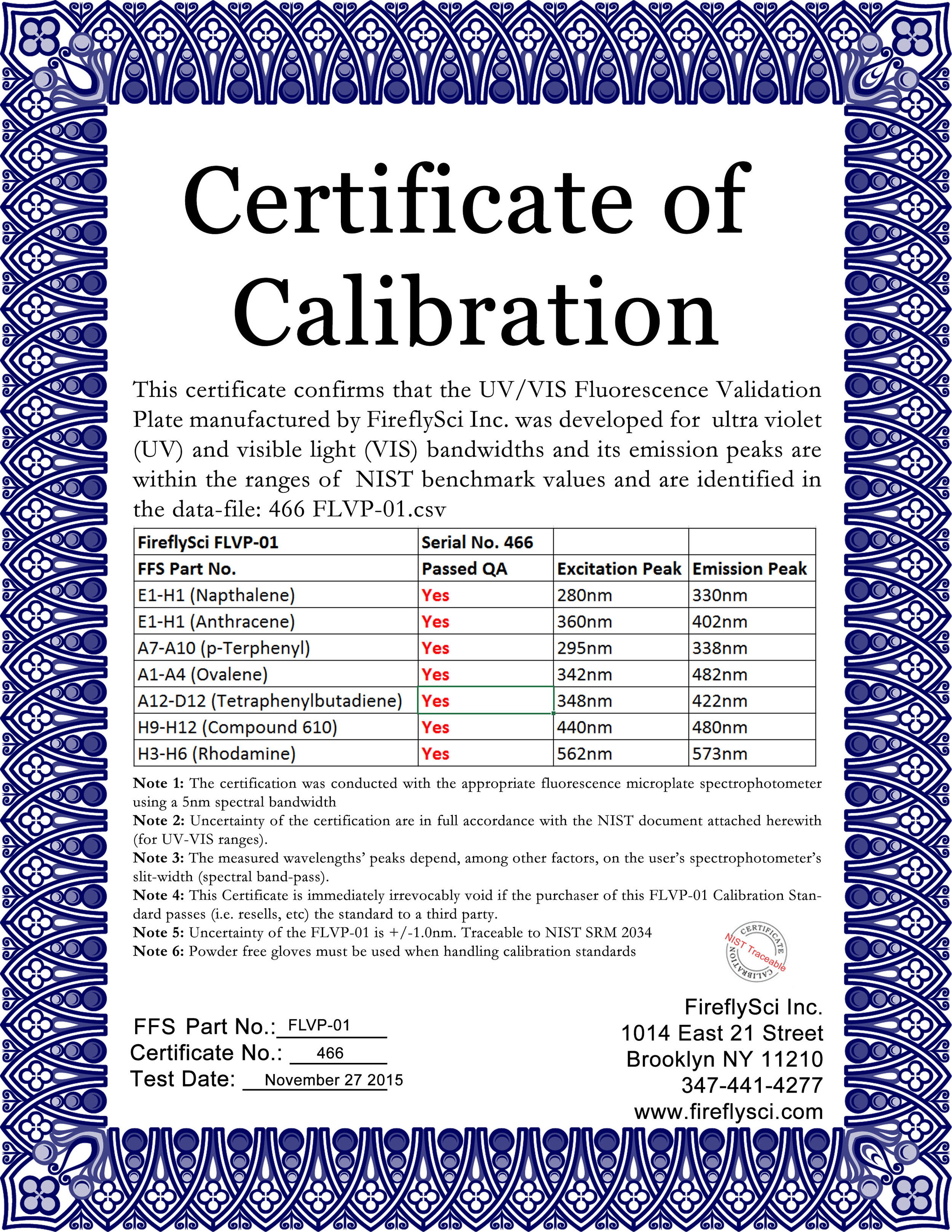 FLVP-01 Sample Certificate of Calibration