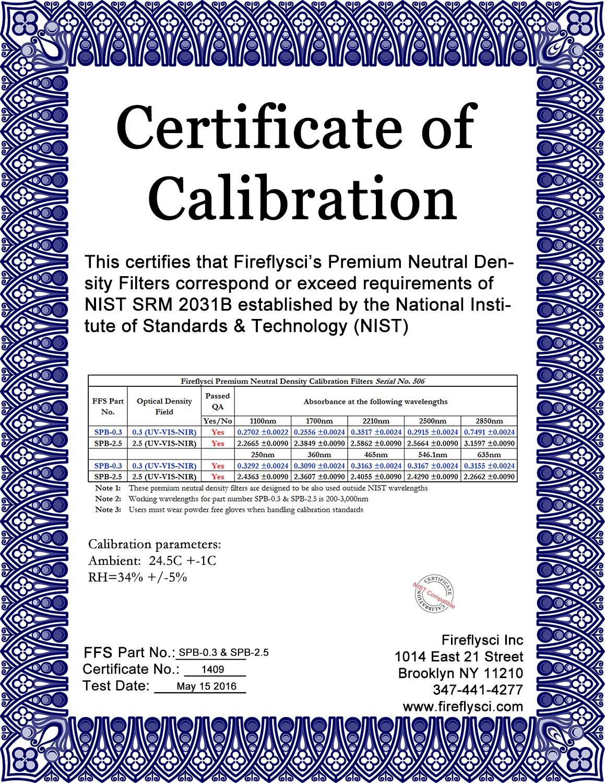 Sample Superband Certificate of Calibration