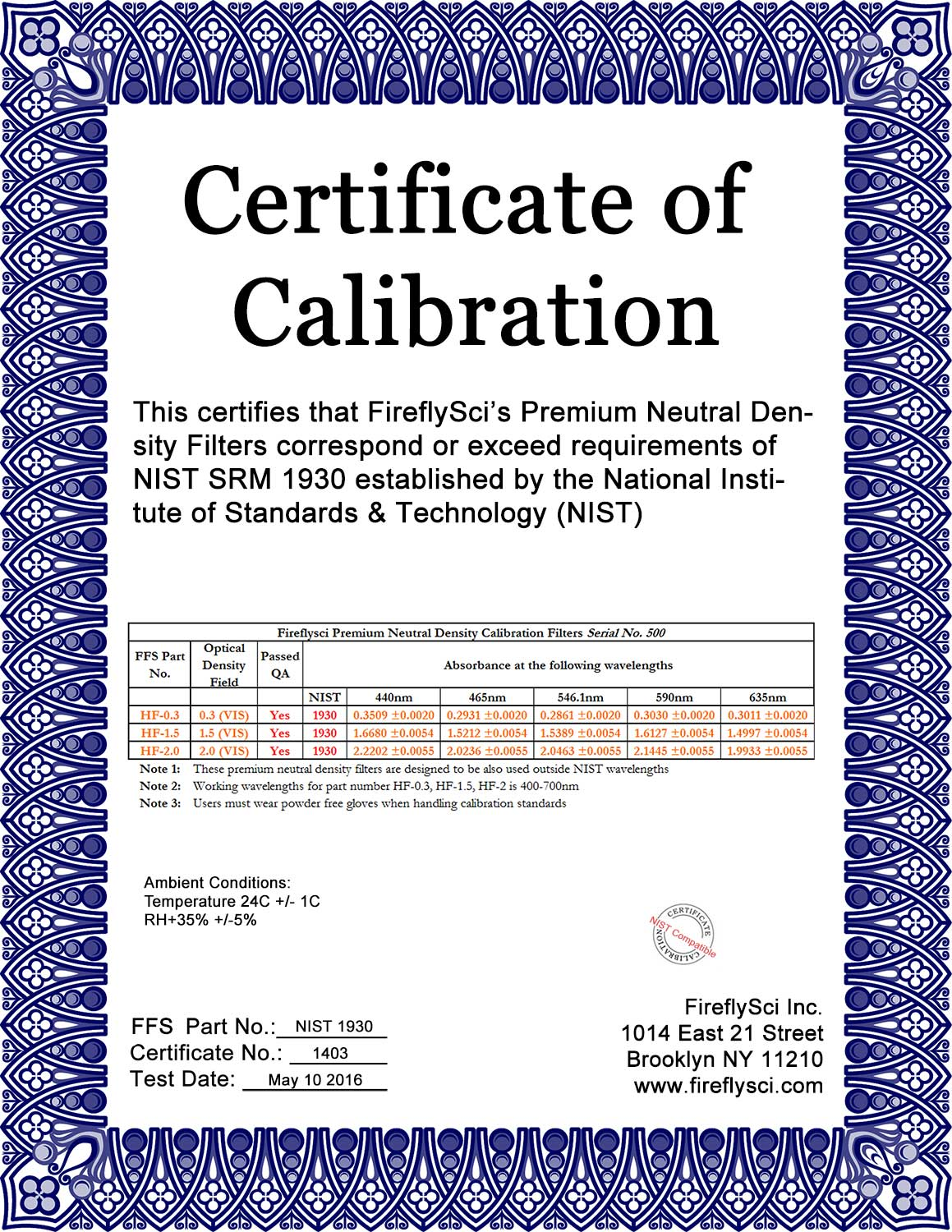 Sample NIST-1930 kit certificate of calibration