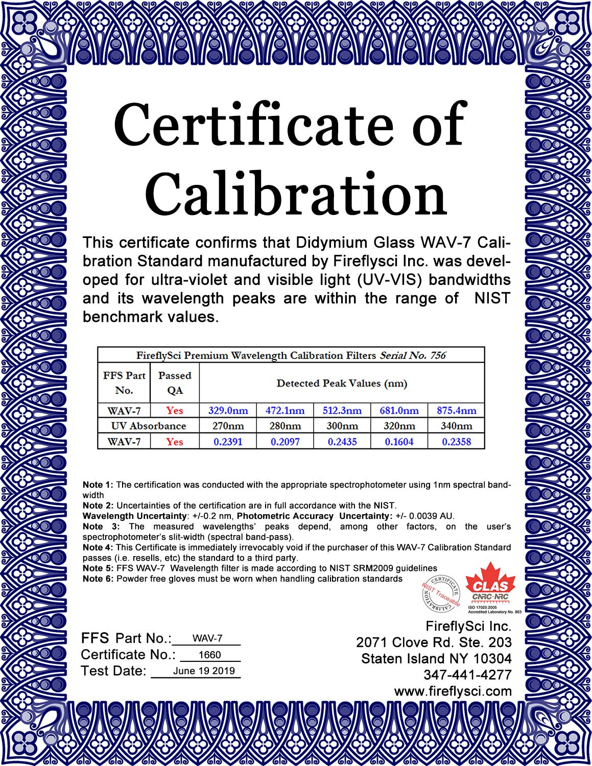SAMPLE WAV-7 UV/VIS CERTIFICATE OF CALIBRATION