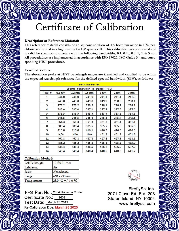 SRM-HO Liquid Holmium Sample Certificate of Calibration