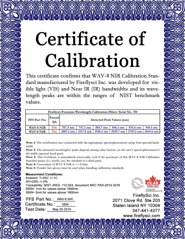 SAMPLE WAV-8 NIR CERTIFICATE OF CALIBRATION
