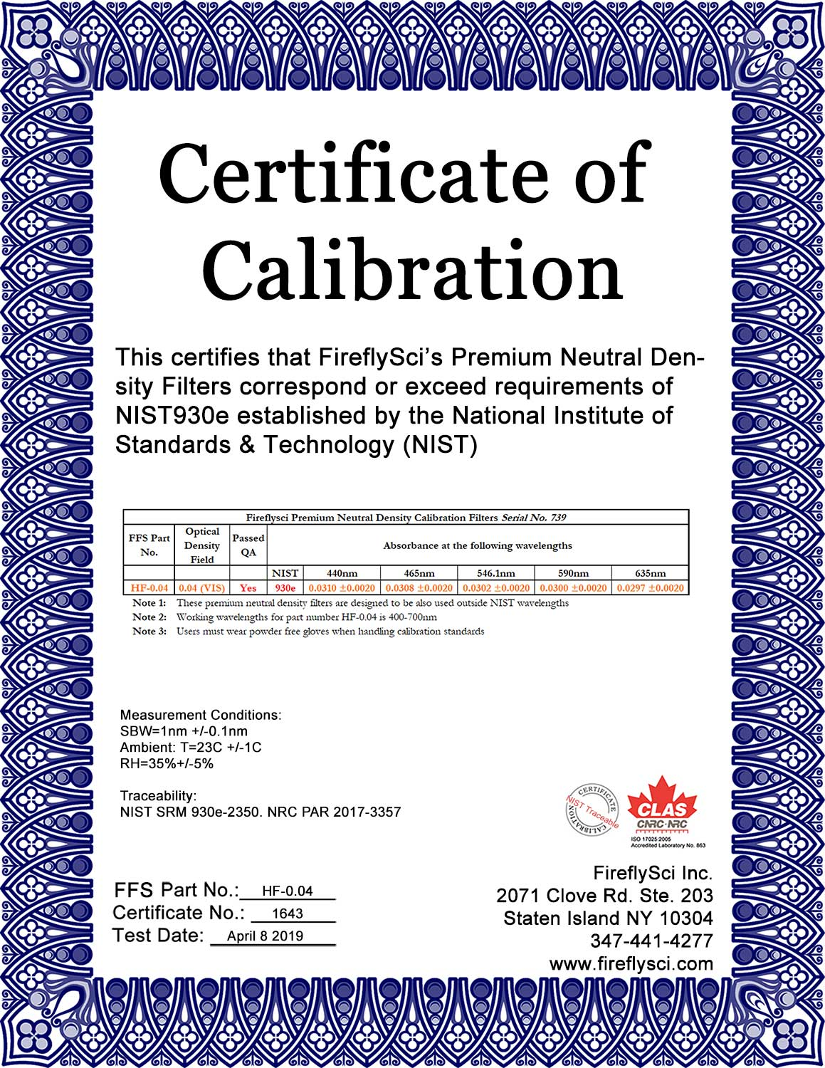 HF-0.04 sample certificate of calibration