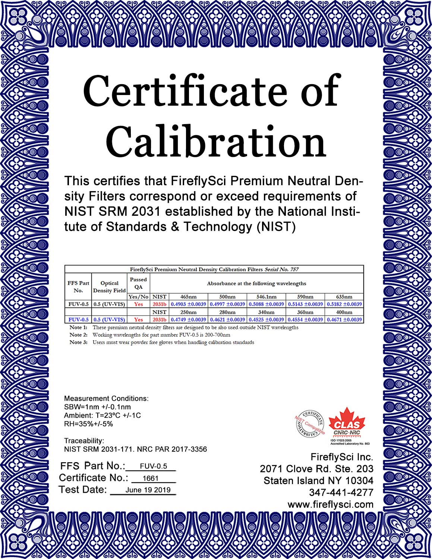 FUV-0.5 Sample Certificate of Calibration