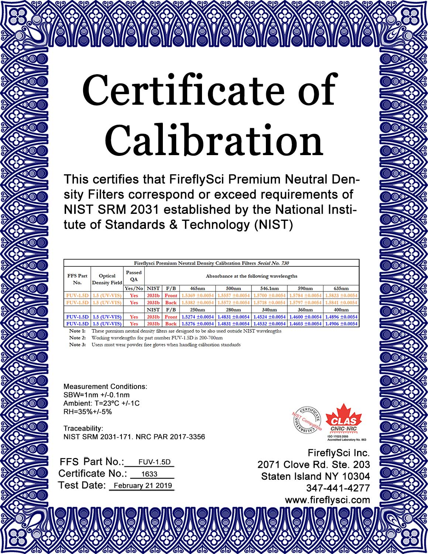 Sample FUV-1.5D Certificate of Calibration