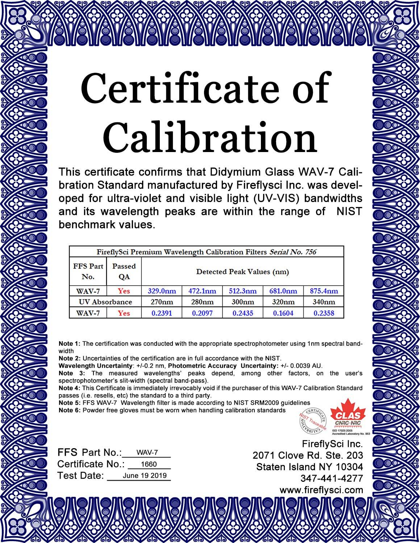 Sample WAV-7 UV/VIS Certificate of Calibration