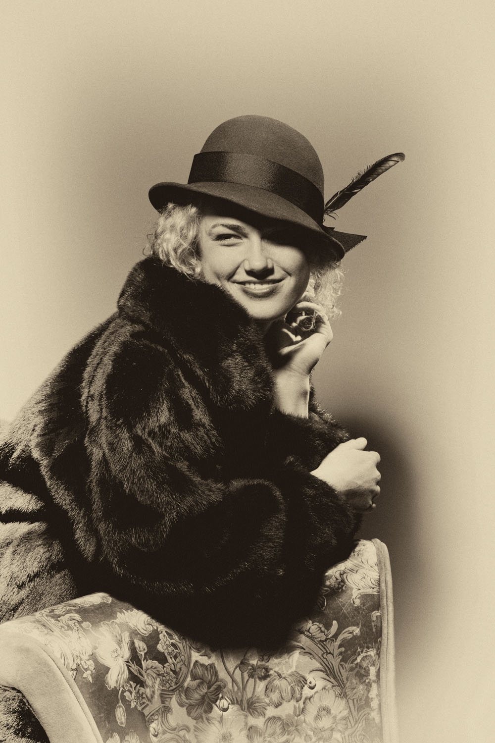 Chilko 1930s fur hat by chair smile_BW36.jpg