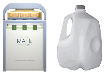 Fig 1: MATEbox and one gallon milk jug, shown to scale