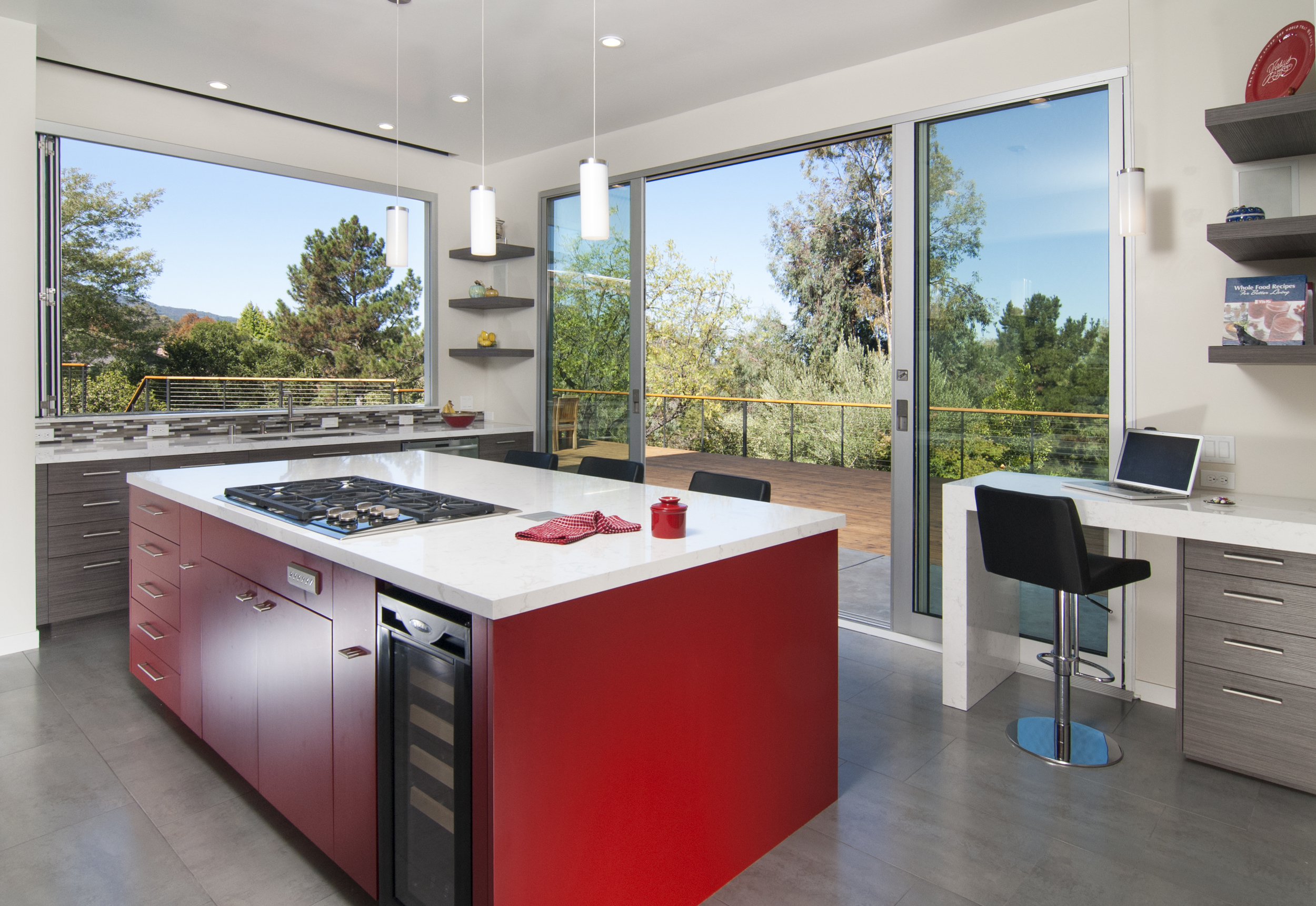 A San Francisco remodel featuring our new Frameless line with Sherwin Williams' vibrant Pomegranate Red
