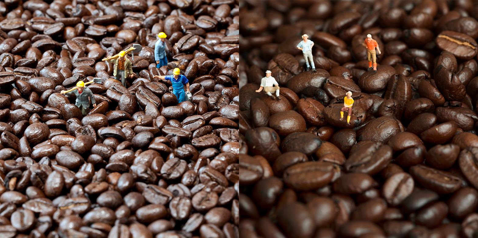 My Coffee Crew. Their same four figures arranged on coffee.