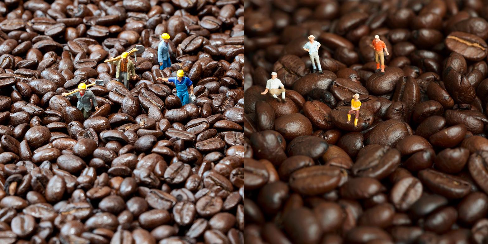 My Coffee Crew. Their same four figures arranged on coffee.