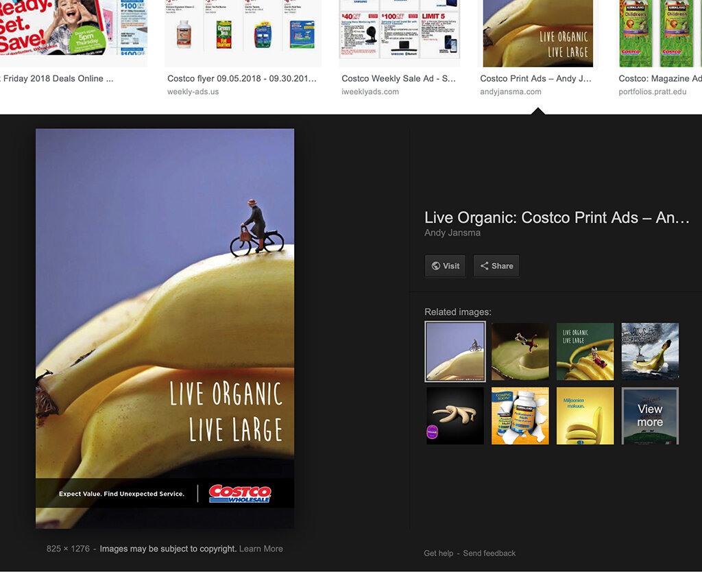 """Two of my images with Mr. Jansma's """"graphic design"""" indexed and aggregated to Google Images. Providing potential for further infringements. Note that my name appears nowhere in connection with this appearance online, further sowing confusion about the true author of these works."""