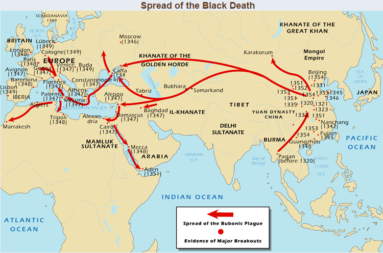 Spread of the Black Death in 1300s.  UCDAVIS