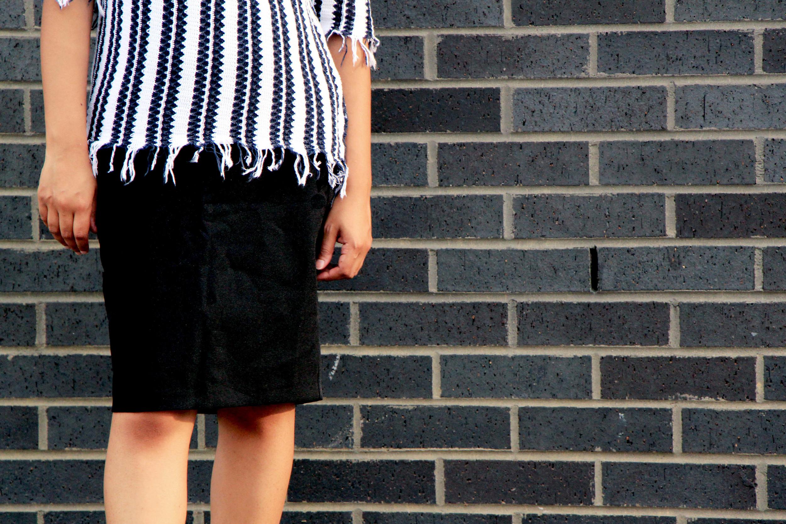 top shop stripe frayed hem - penciling in the fringe