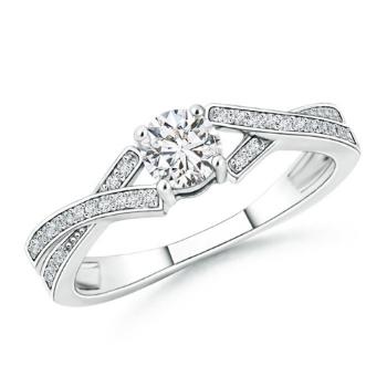 Solitaire Round Diamond Ribbon Shank Ring