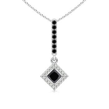 Floating Halo Black and White Diamond Pendant