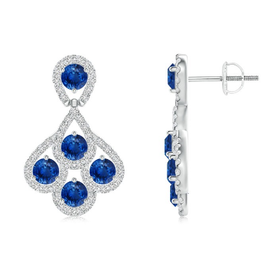 Diamond Encrusted Sapphire Peacock Earrings