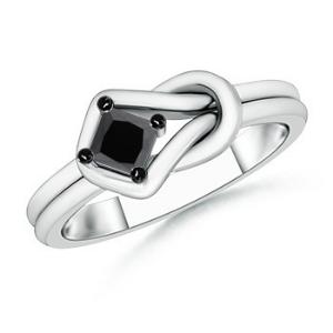 Solitaire Enhanced Black Diamond Infinity Knot