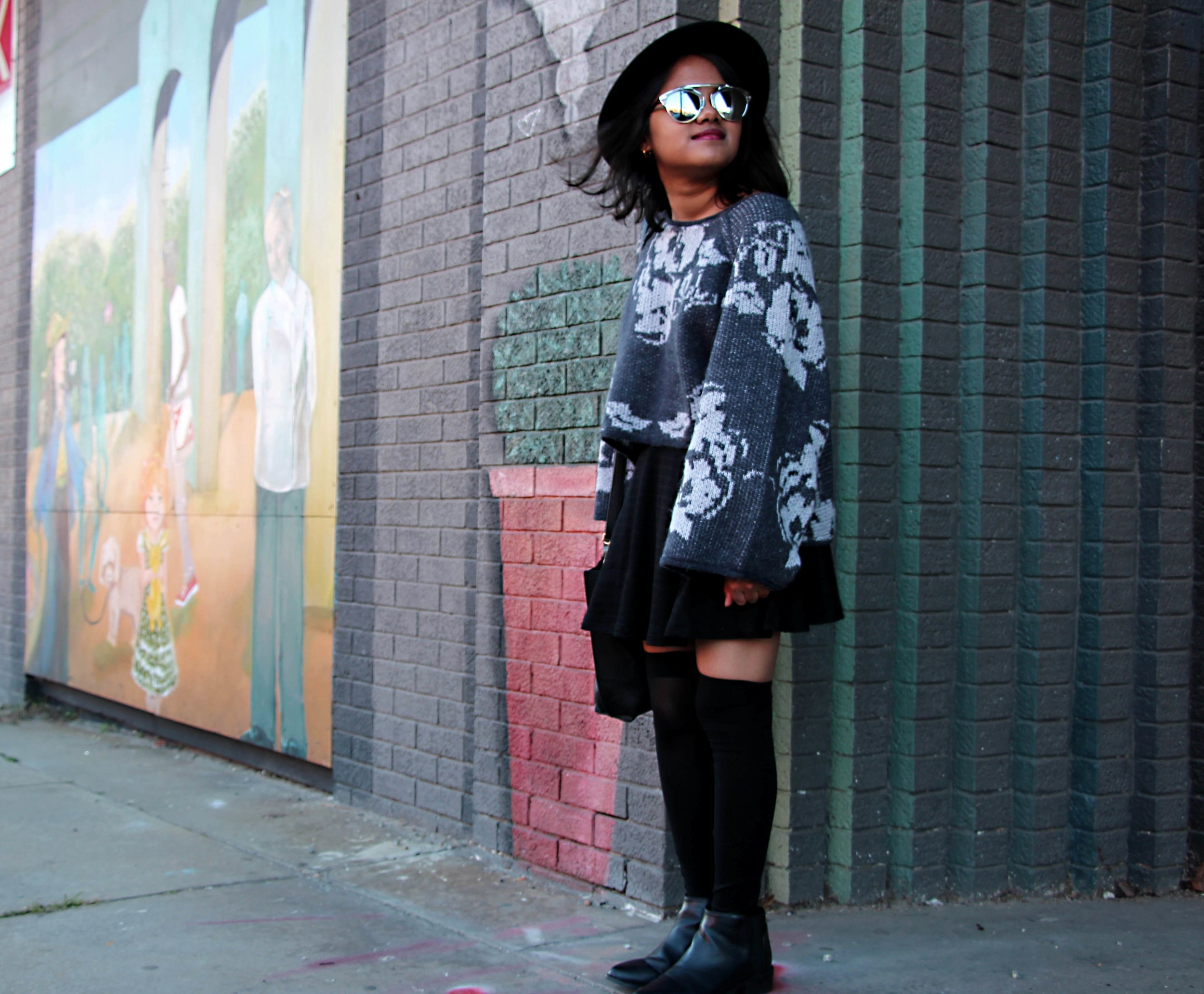 free people grey florals and bell sleeves in downtown raleigh