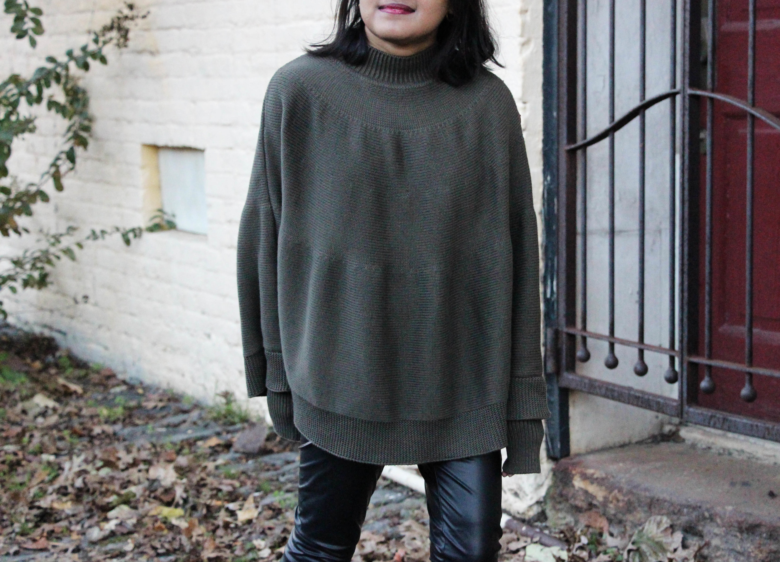 Asos Olive Cape Sweater and Leather Leggings