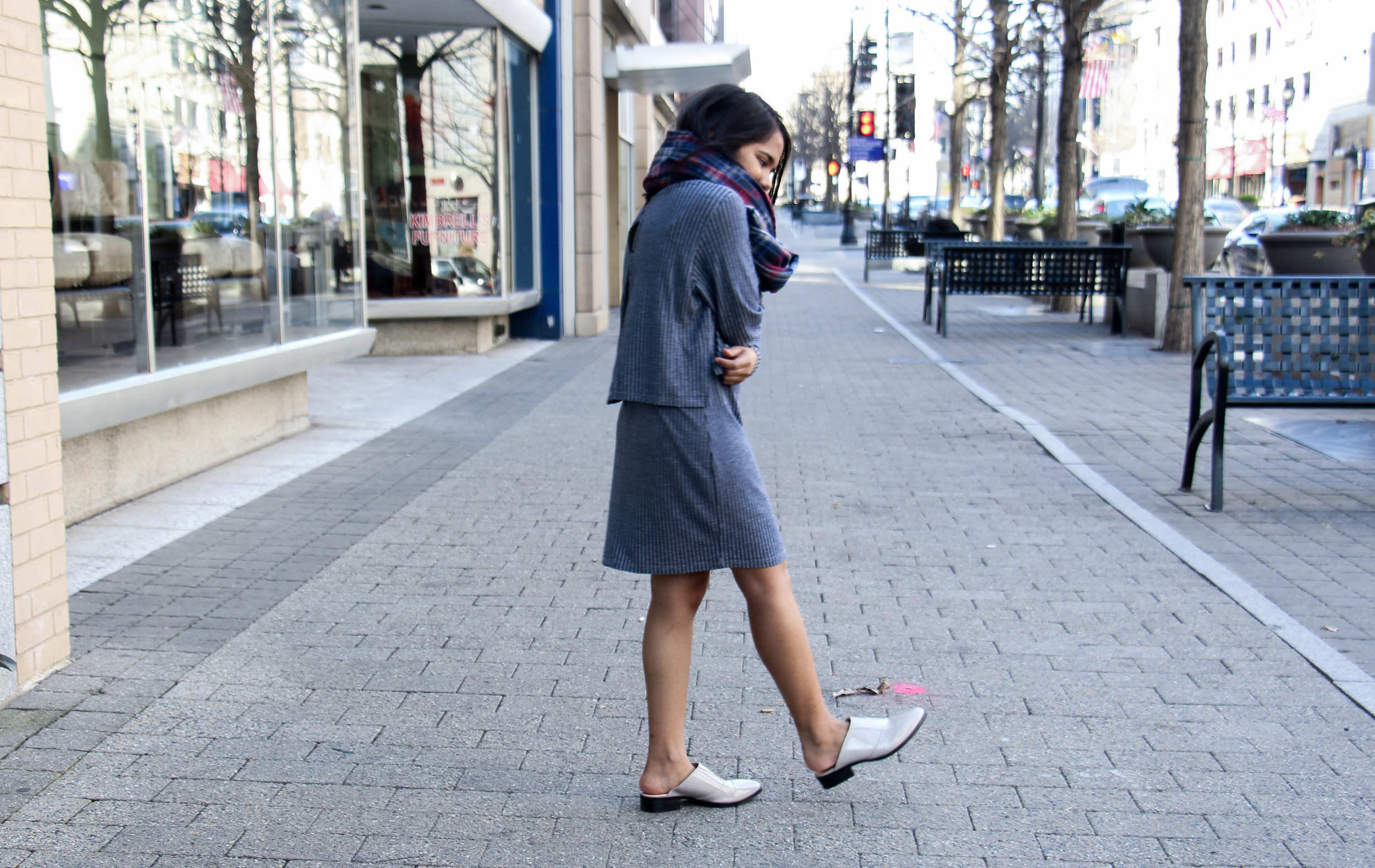 Tom Haverford Style in Topshop Pinstrip Dress and Gray Mules