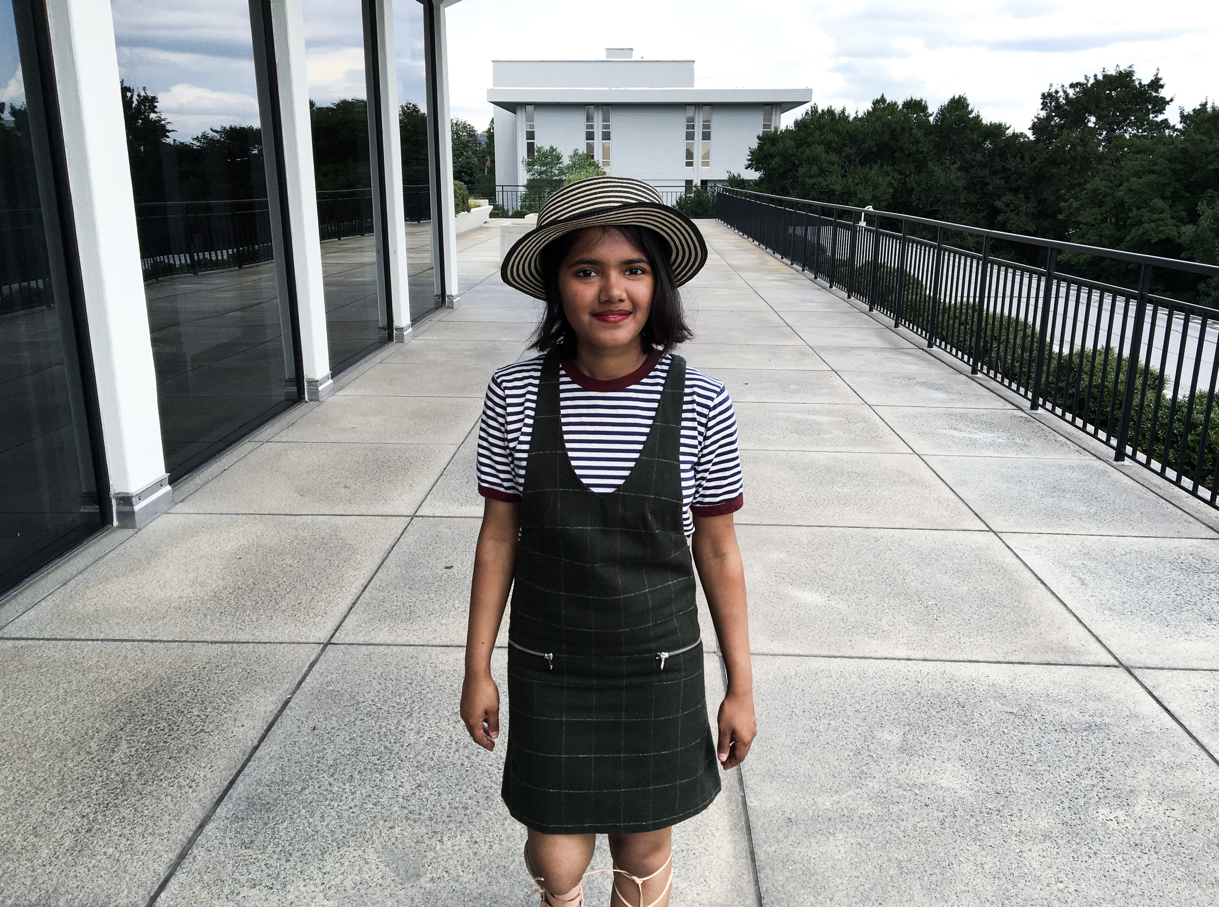 Petite Olive Pinafore Dress with Stripe Shirt