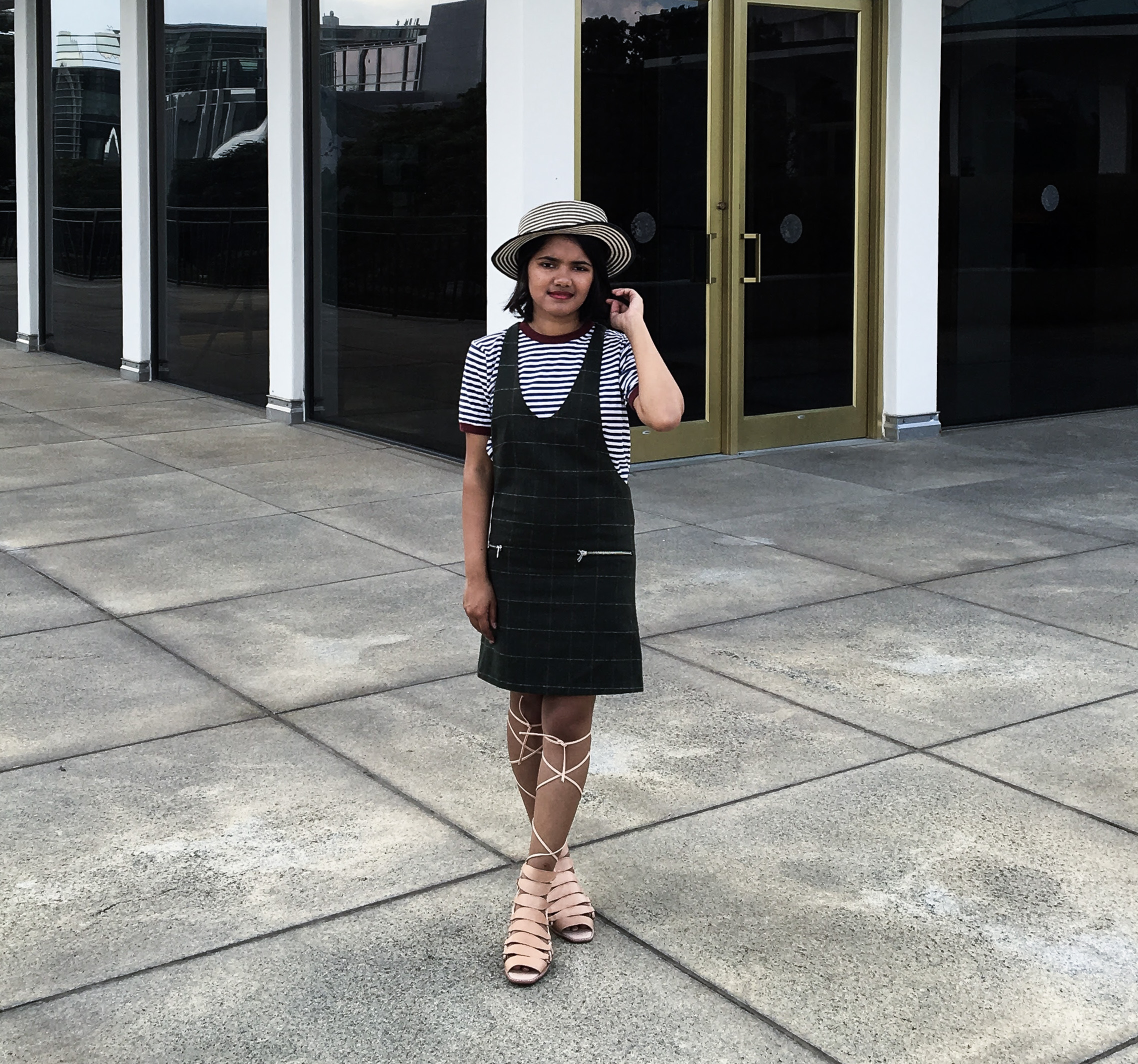 Olive Check Pinafore and Jeffrey Campbell Zaferia Sandals