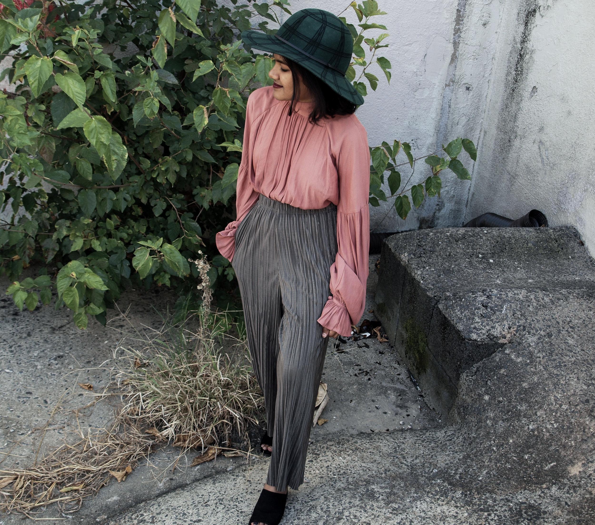 Coral Blouse and Khaki Plisse Pants