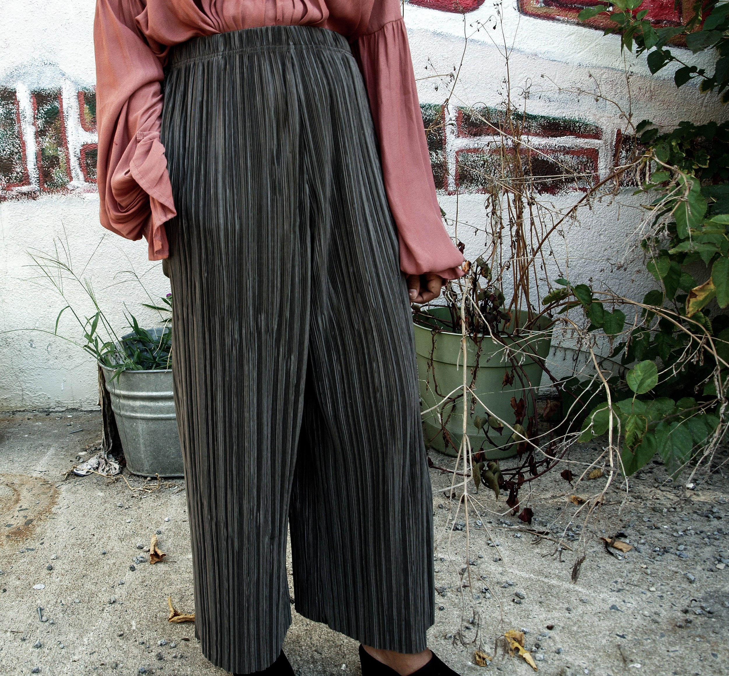 Topshop Khaki Plisse Pants