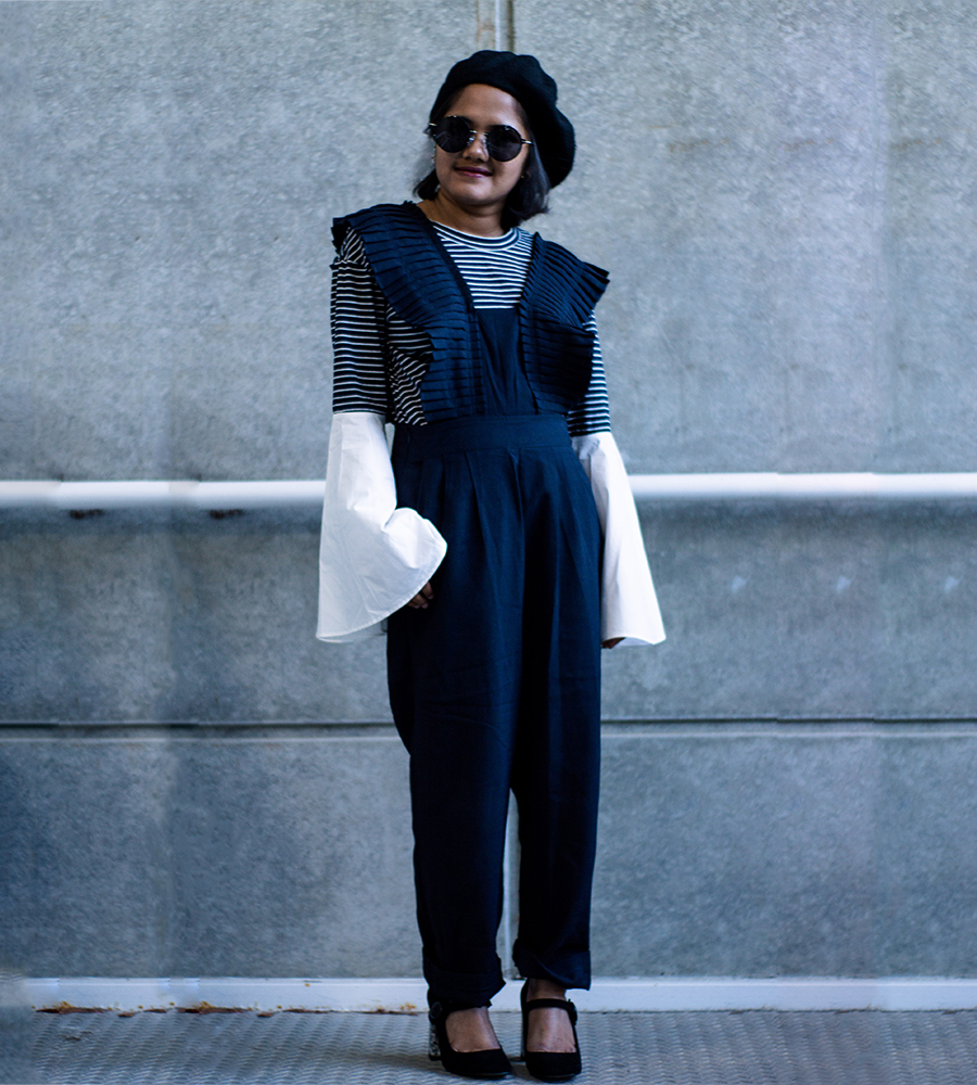 Style Mafia Linden Jumpsuit and Pixie Market Stripe Bell Sleeve Top