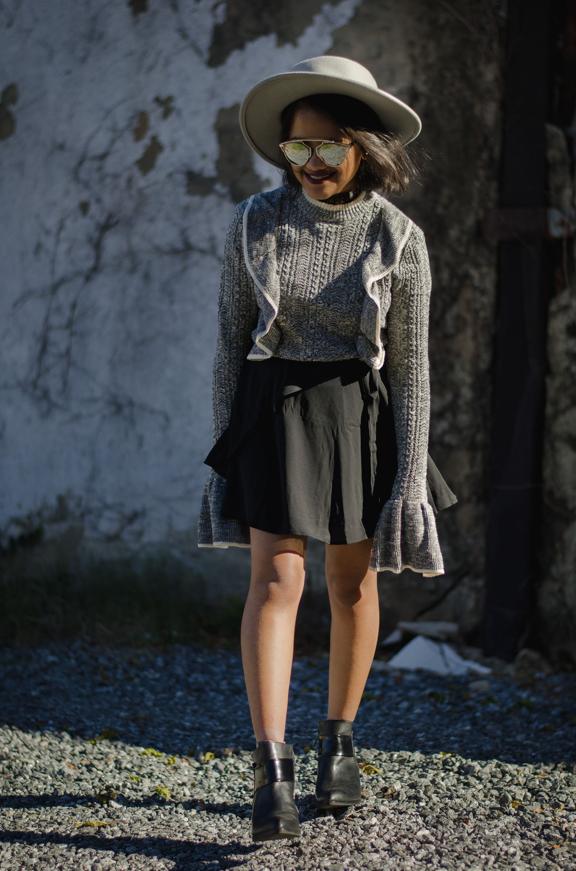 HM Grey Ruffle Bell Sleeve Jumper