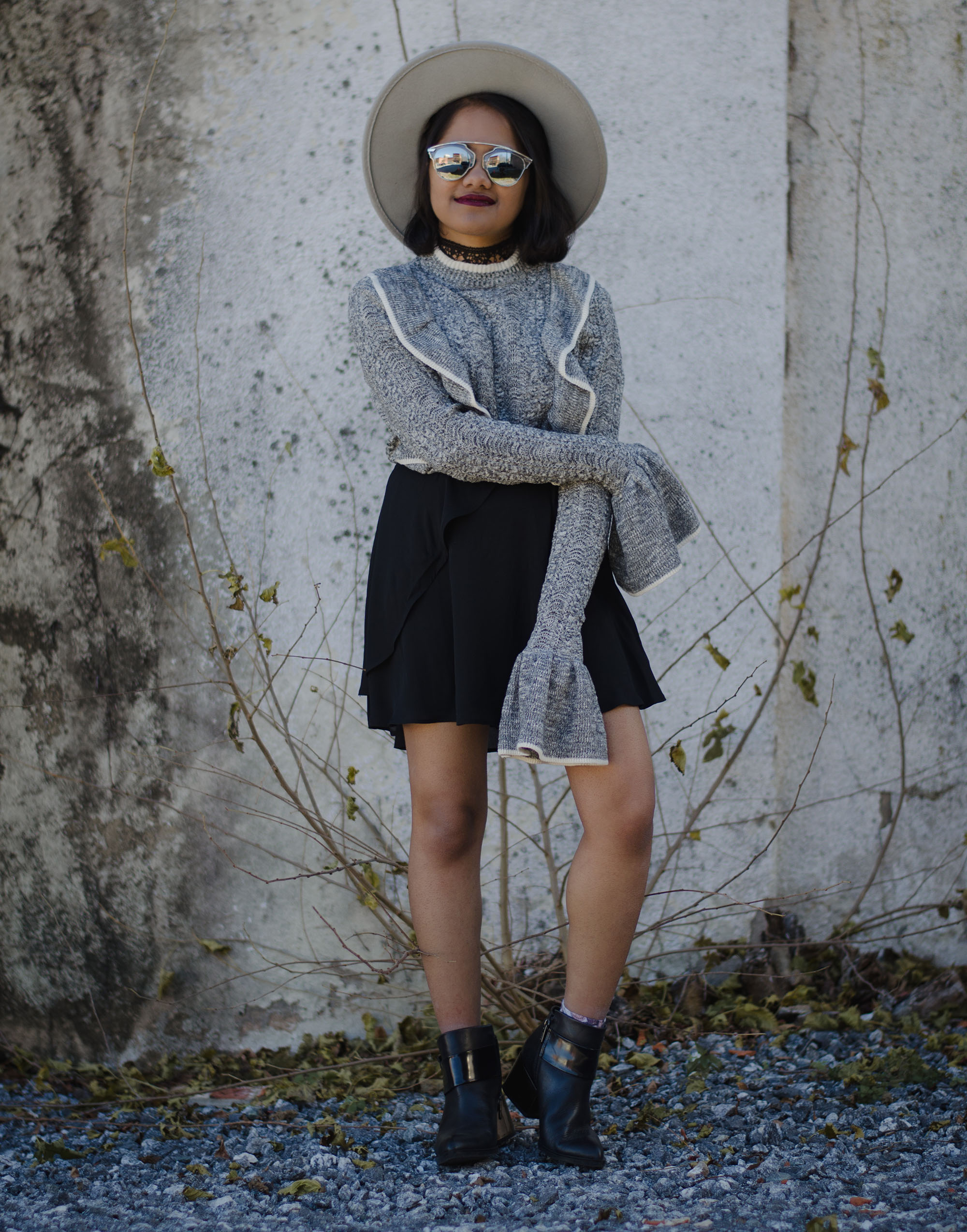 HM Grey Knit Sweater Bell Sleeves and Ruffles and Grey Boater Hat