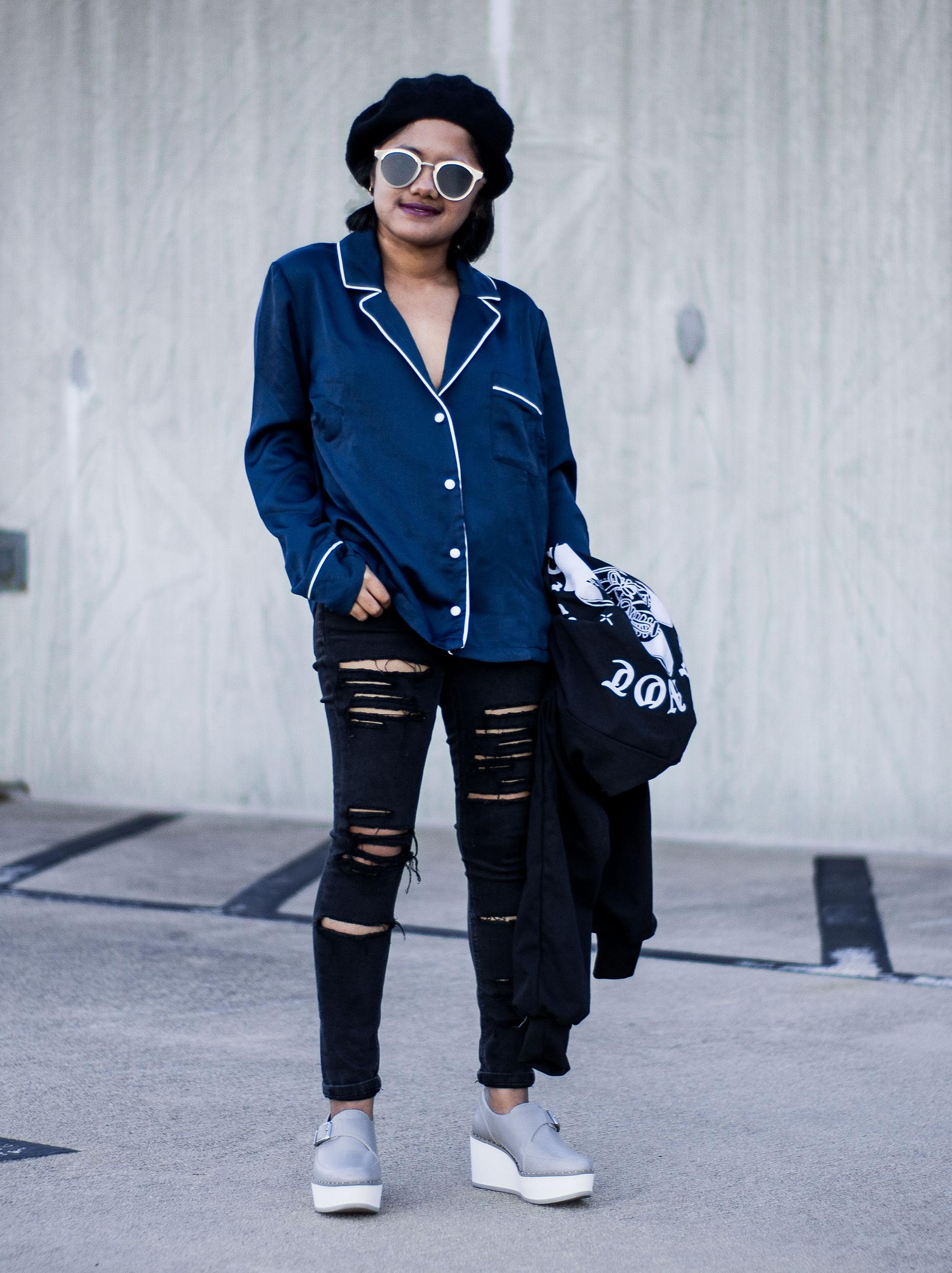 Missguided Navy Pajama Shirt - Ryan Gosling Style with Zara Grey Bluchers
