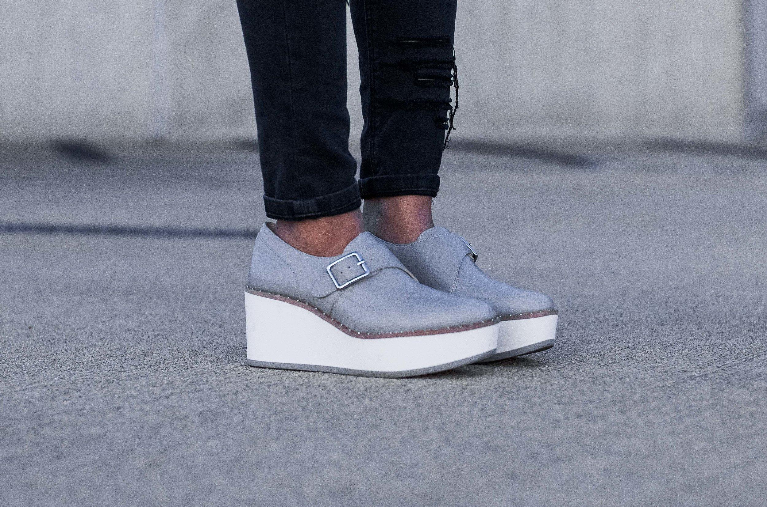 Zara Grey Bluchers Platform Sneakers