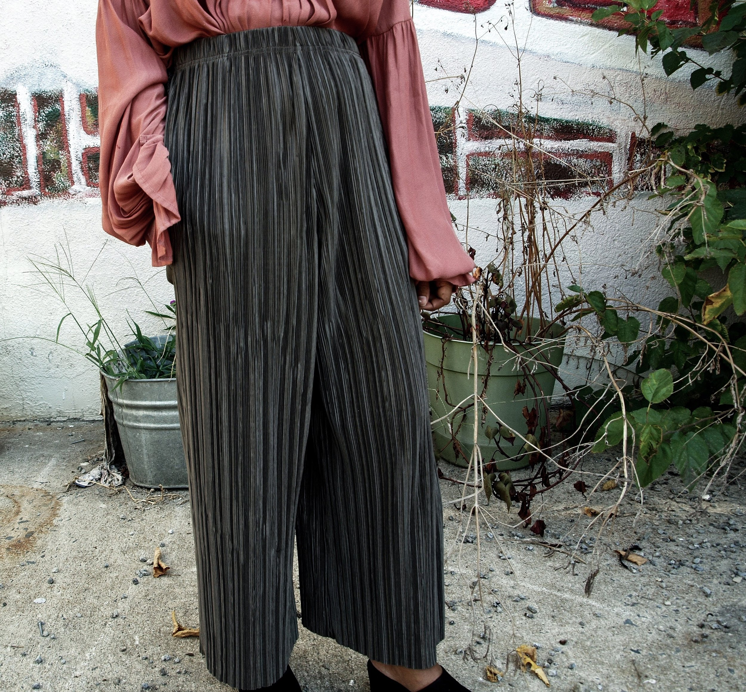 Petite cropped plisse trousers that are not cropped enough.