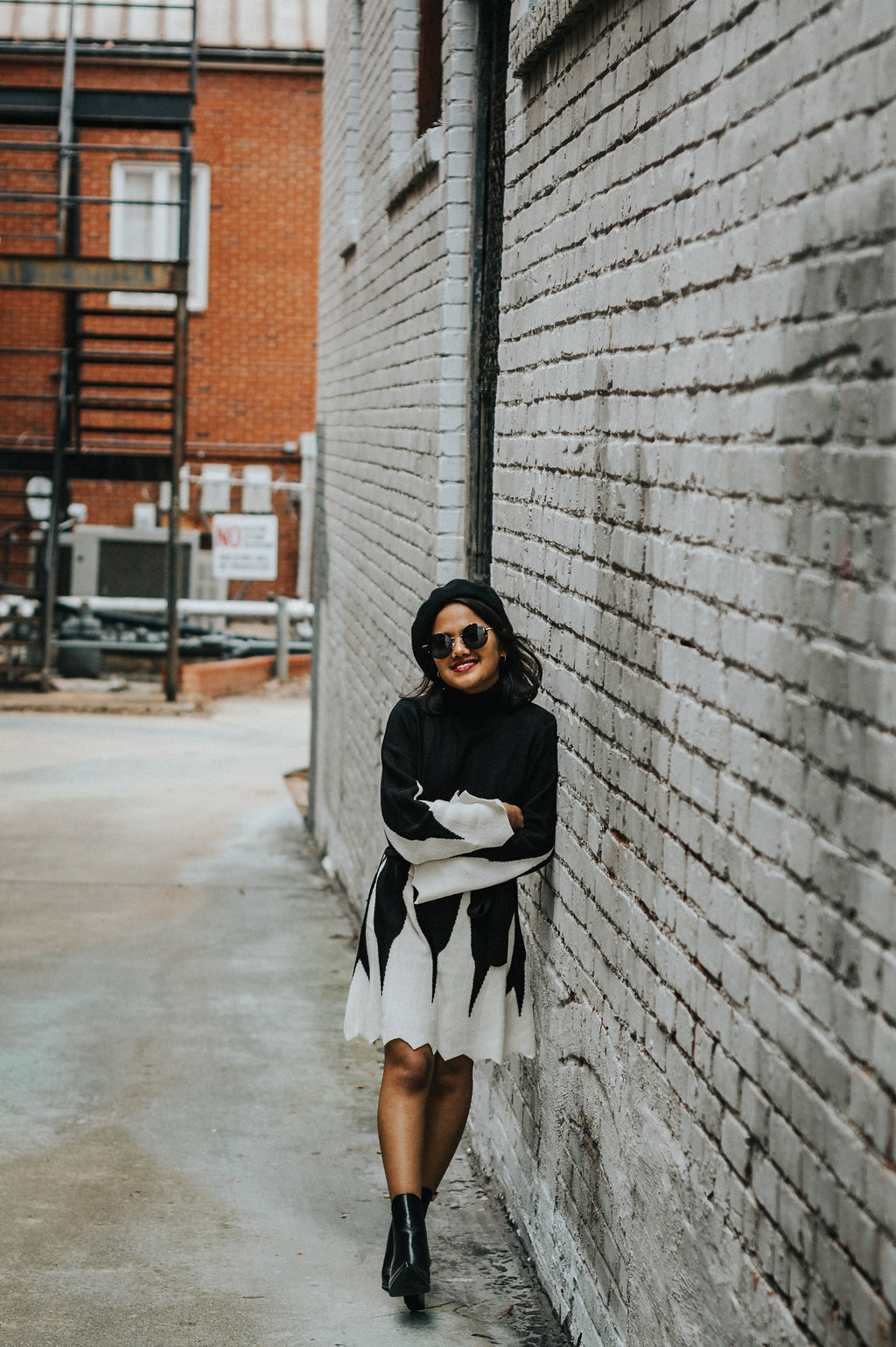 & Other Stories Merino Wool Turtleneck Knit Top With Kendall & Kylie Finley Boots, Spitfire Infinity Sunnies, and Zara Briefcase Crossbody with Scarf