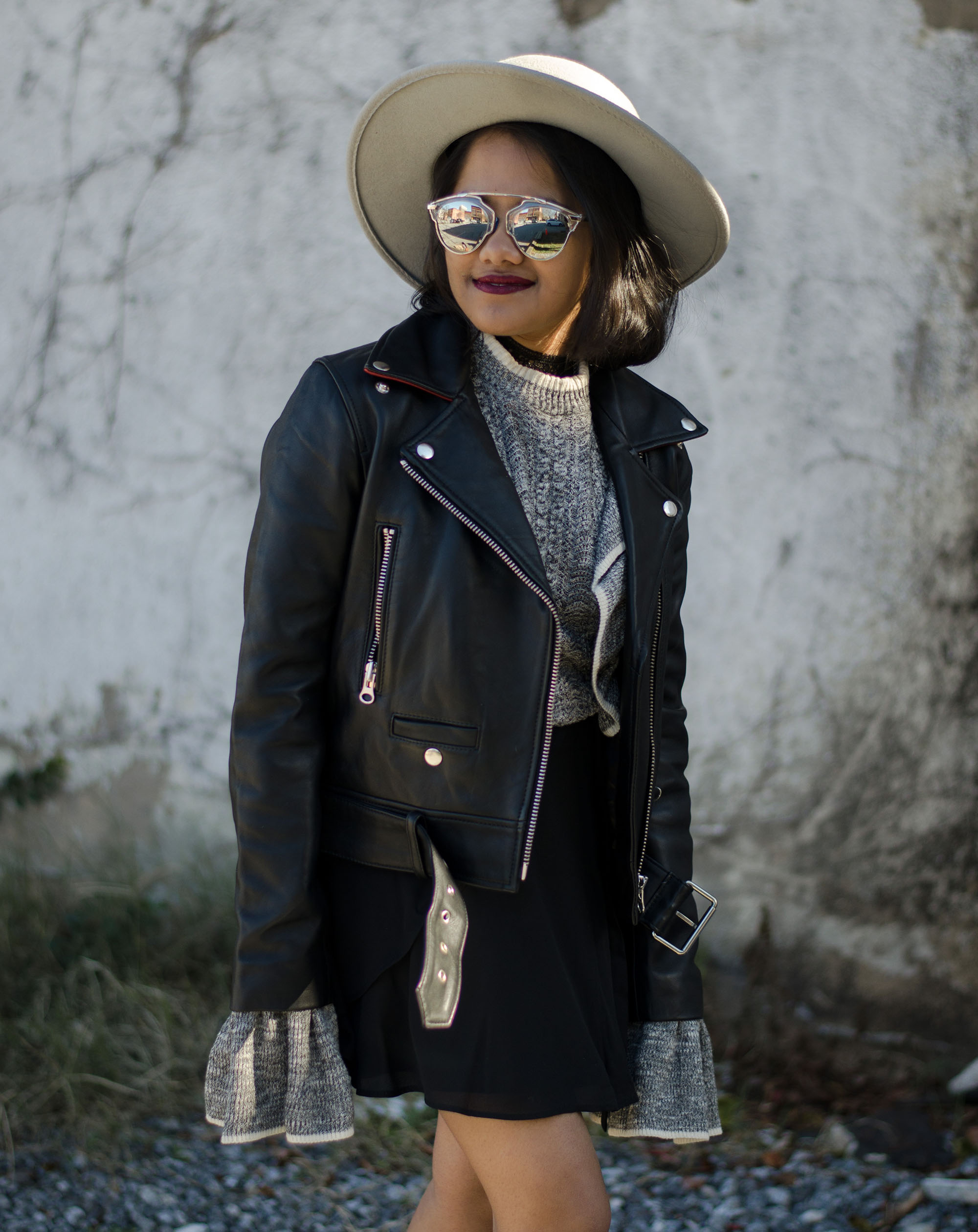 Zarrin Alam - Leather Jacket and Bell Sleeves