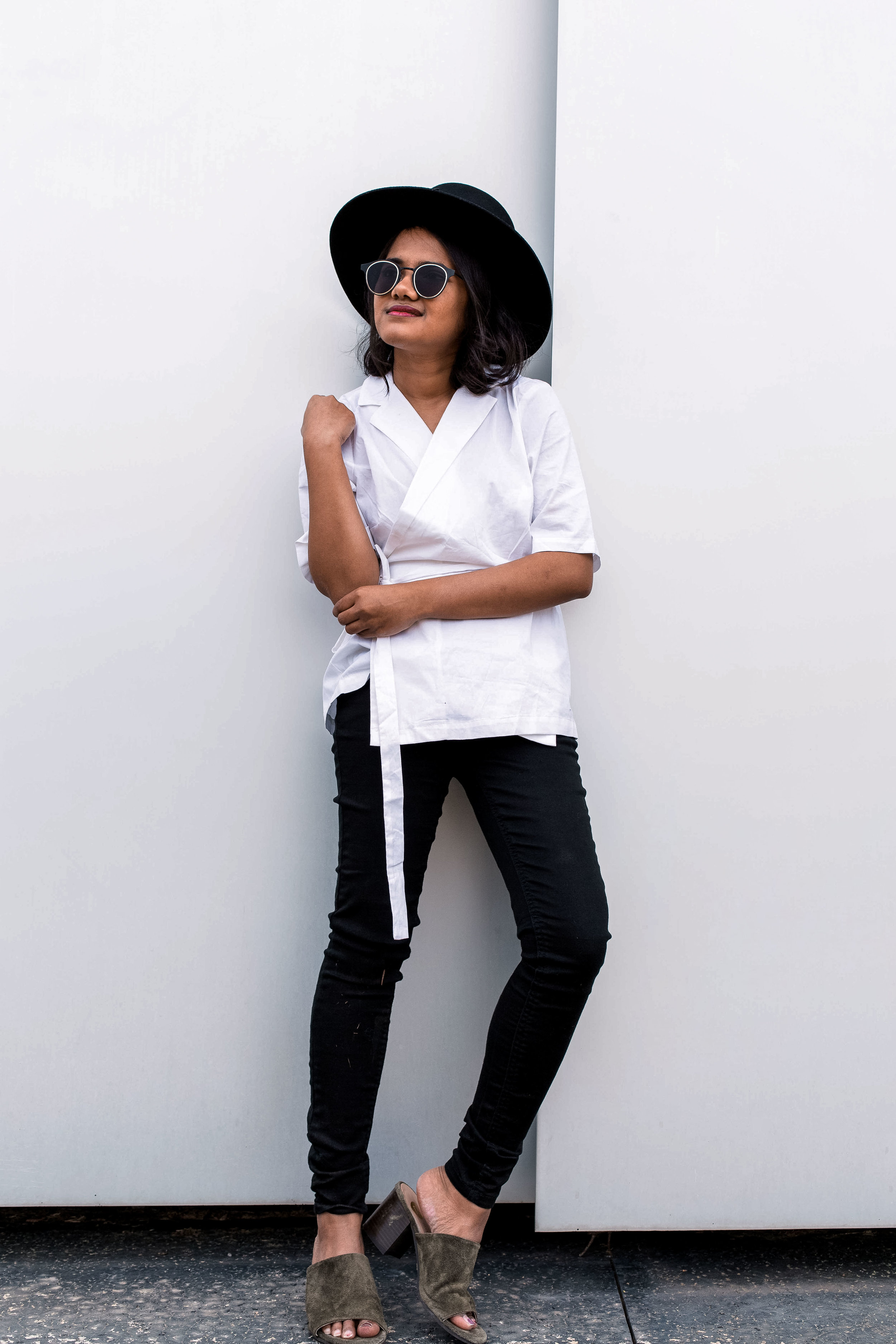 Just Female White and Black Minimalist top with Olive Mules