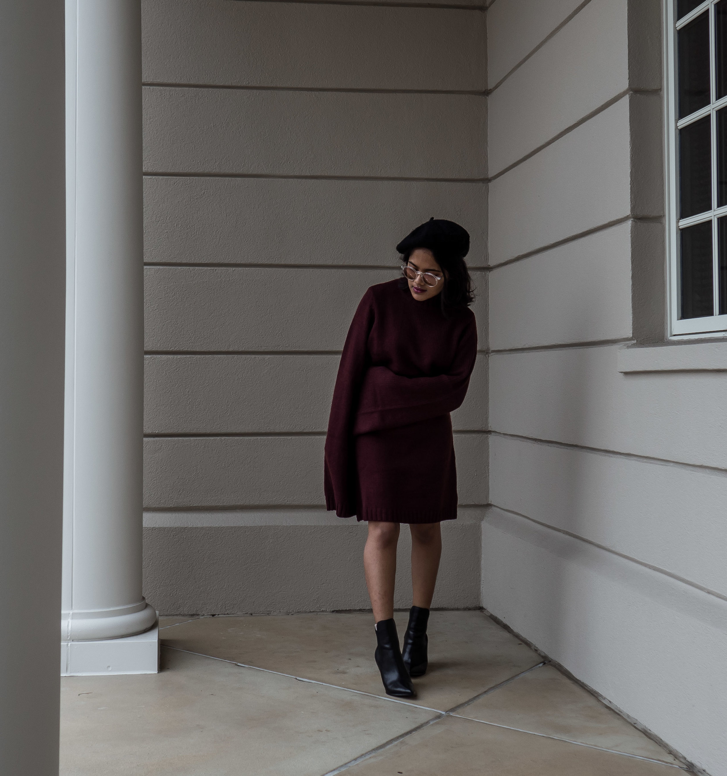 Tobi Burgundy Sweater Dress for Valentine's Day